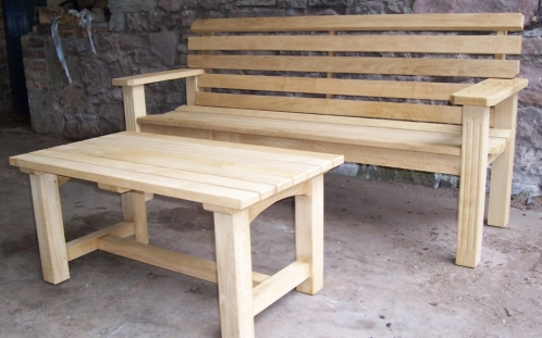 Oak Garden Bench and Table
