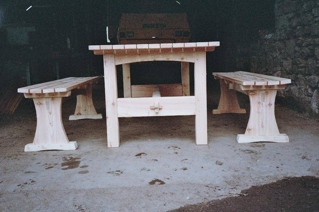 Larch Slatted Picnic Dining Table and Bench Seats